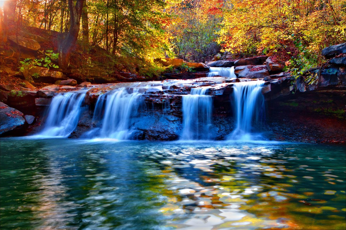 waterfalls-reflection-beautiful-calmness-branches-nice-colorful-leaves-waterfall-trees-serenity-autumn-forest-lovely-quiet-cadcades-fall-nature-3d-wallpaper-download
